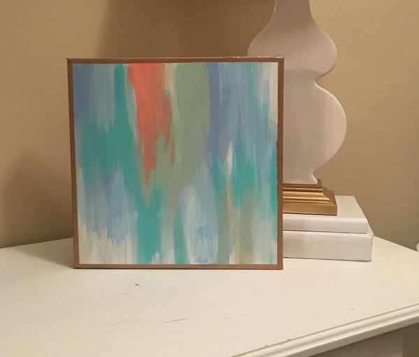 Coral and Blues painting Lauren Neville - Christenberry Collection