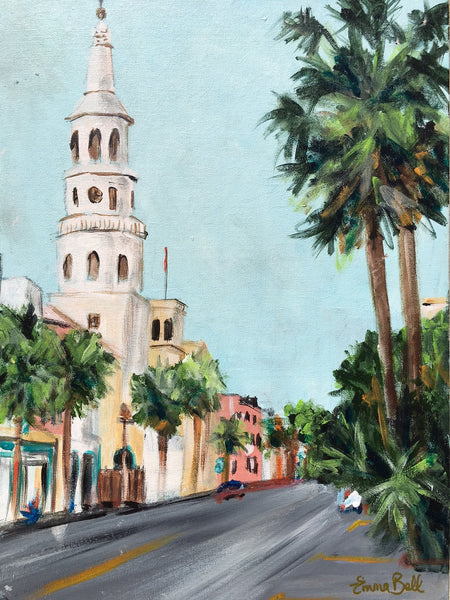 Broad Street, Charleston painting Emma Bell - Christenberry Collection