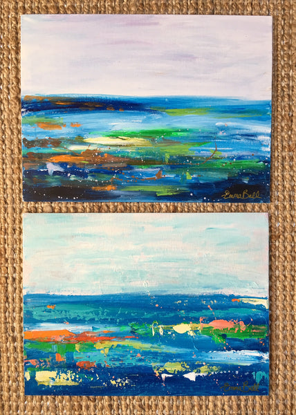 Blue and Green Landscape painting Emma Bell - Christenberry Collection