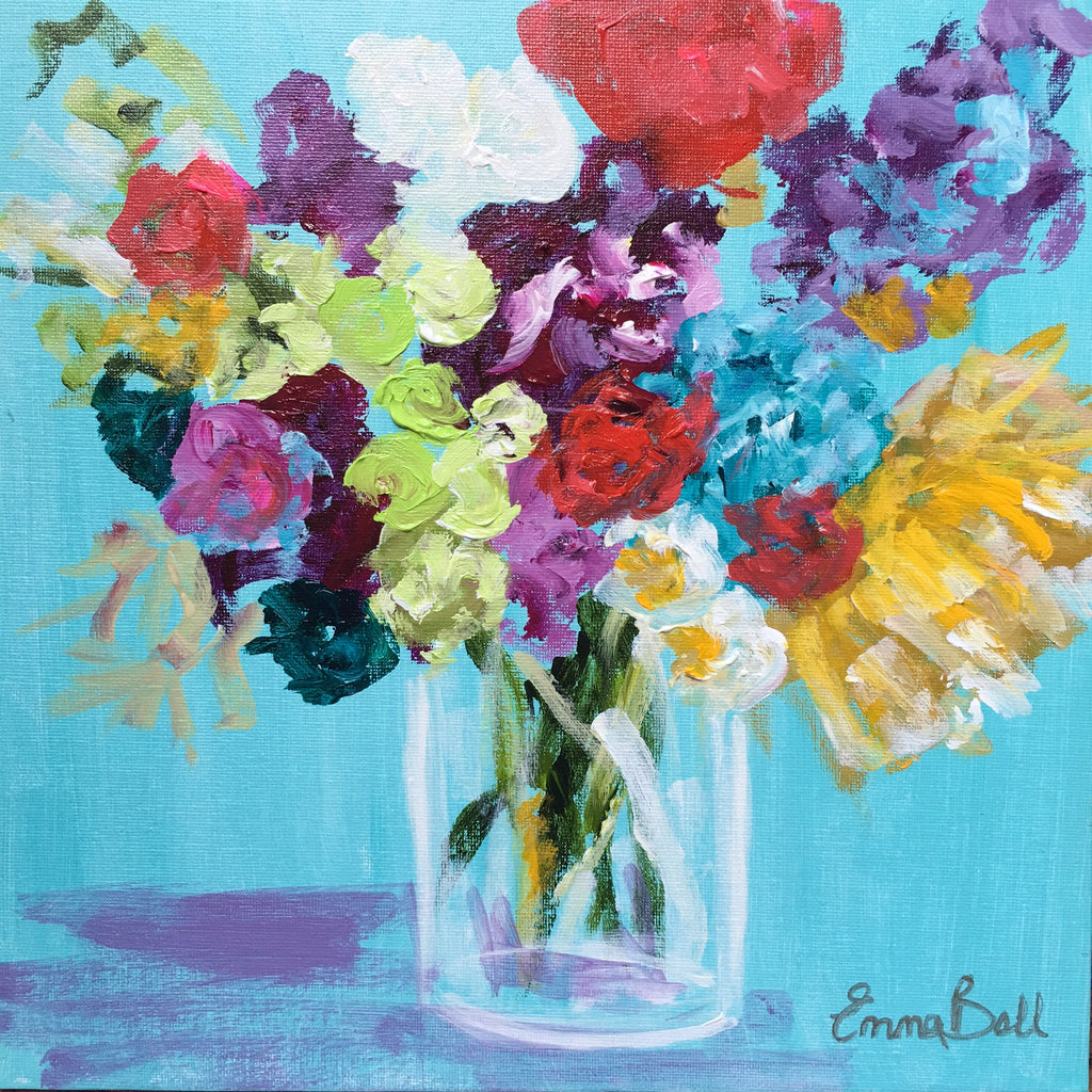 Mini Bright Floral Bunch painting Emma Bell - Christenberry Collection