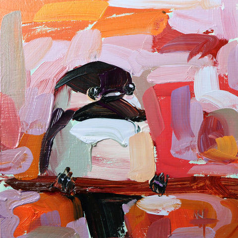 Chickadee No. 972 painting Angela Moulton - Christenberry Collection