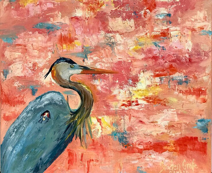 Great Blue on Orange painting Braden Grafe - Christenberry Collection