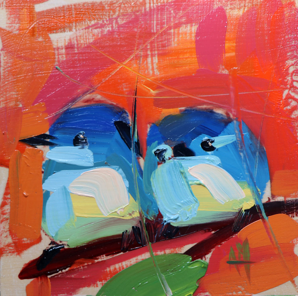 Two Mountain Birds No. 10 painting Angela Moulton - Christenberry Collection