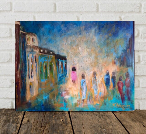 Alone In the City painting Karen Velasquez - Christenberry Collection