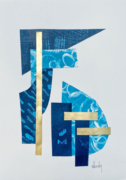 Blue Collage II painting Mary Kathryn Kendig - Christenberry Collection