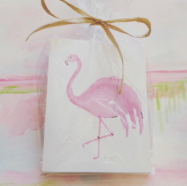 Sissys Flamingo Notecards painting Jane Marie Edwards - Christenberry Collection