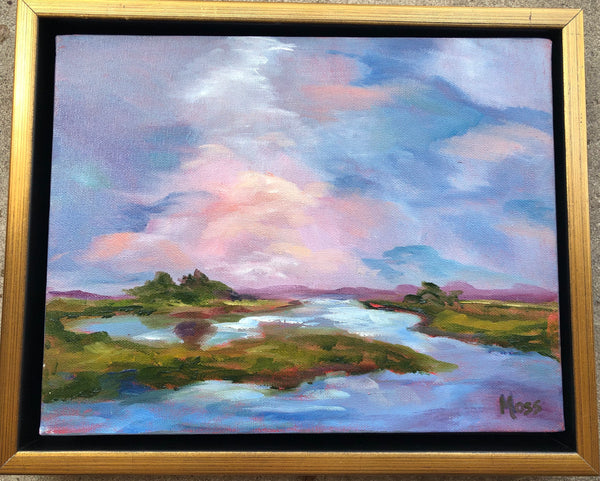 Framed marshland painting Jenny Moss - Christenberry Collection