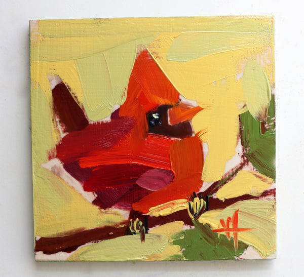Cardinal No. 190 painting Angela Moulton - Christenberry Collection