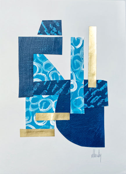 Blue Collage III painting Mary Kathryn Kendig - Christenberry Collection