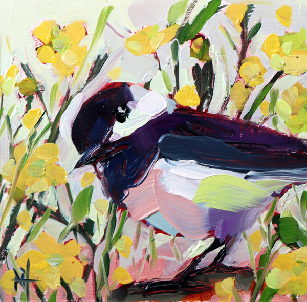 Chickadee No. 989 painting Angela Moulton - Christenberry Collection