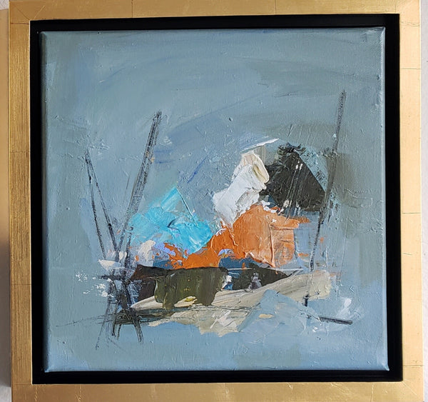 Orange and Blue abstract framed painting Kym De Los Reyes - Christenberry Collection