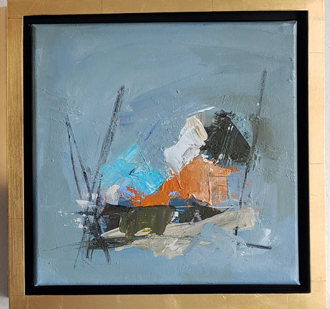 Orange and Blue abstract framed