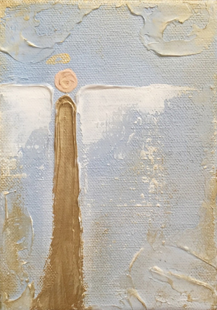 Blue and Gold Angel painting Lori Mitchell - Christenberry Collection