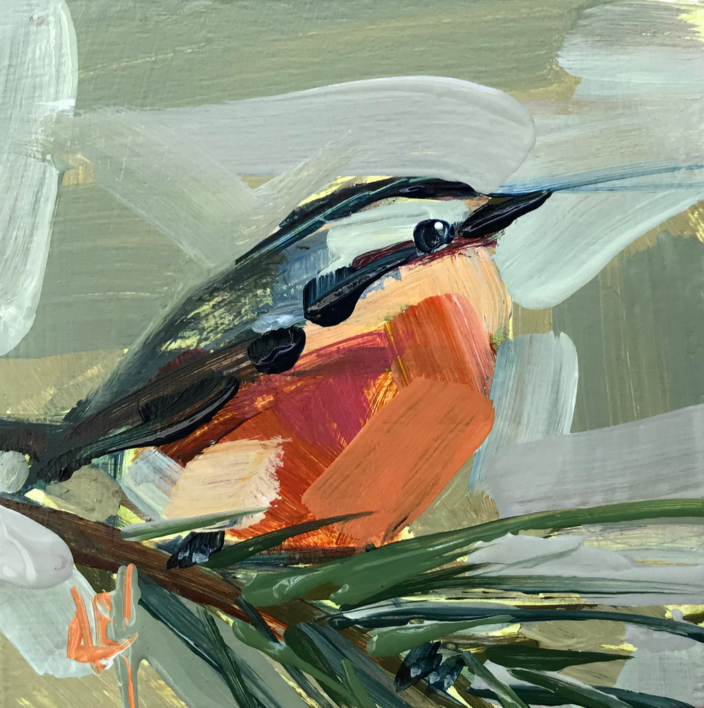 Nuthatch No. 531 painting Angela Moulton - Christenberry Collection
