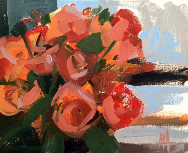 Orange Spray Roses painting Angela Moulton - Christenberry Collection