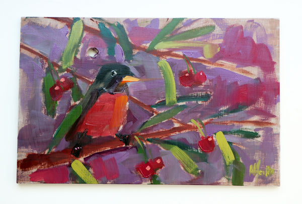 American Robin and Cherries painting Angela Moulton - Christenberry Collection