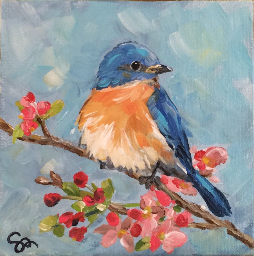 Bluebird painting Shields Catone - Christenberry Collection