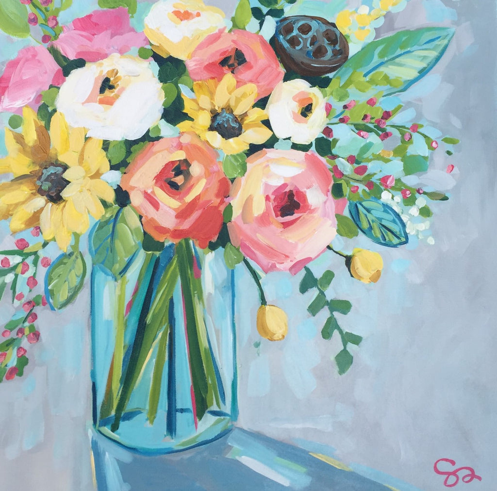 Blush Bouquet painting Shields Catone - Christenberry Collection
