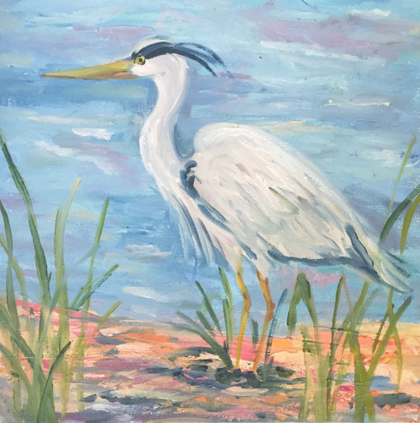 Heron 1 and 2 painting Jenny Moss - Christenberry Collection