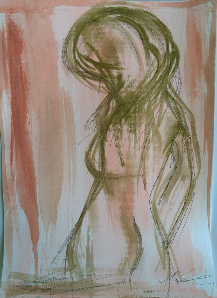Coral Figure painting Michalle Sessions - Christenberry Collection