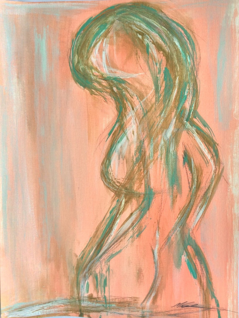 Figure Study Peach painting Michalle Sessions - Christenberry Collection
