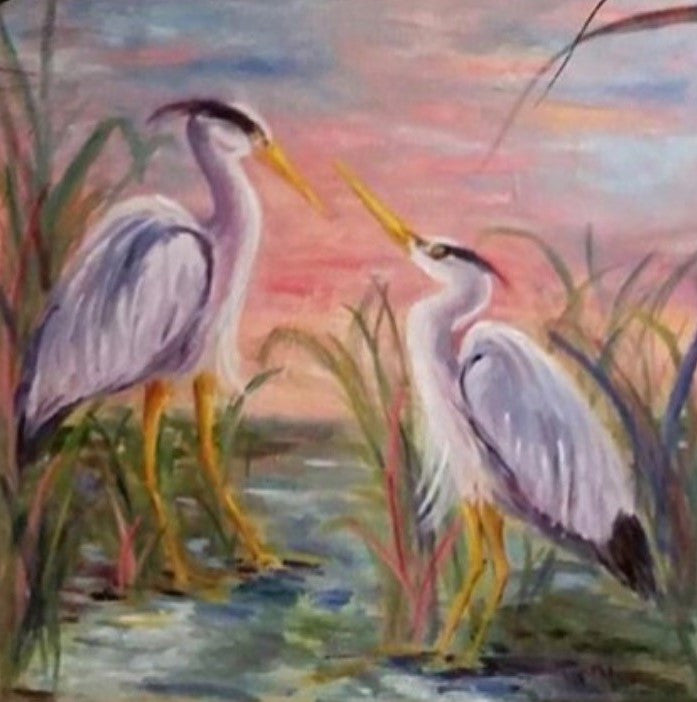 Sunrise Chat painting Jenny Moss - Christenberry Collection