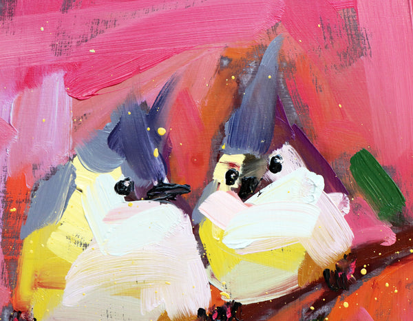 Tufted Titmice on Pink painting Angela Moulton - Christenberry Collection