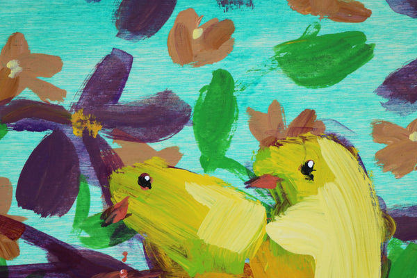 Two Canaries painting Angela Moulton - Christenberry Collection