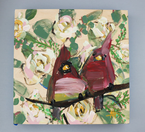 Two Cardinals and Roses painting Angela Moulton - Christenberry Collection