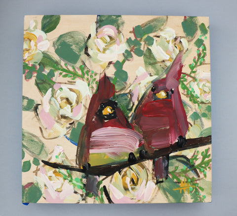Two Cardinals and Roses