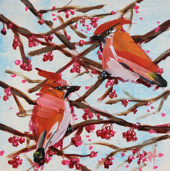 Two Cedar Waxwings with Berries painting Angela Moulton - Christenberry Collection