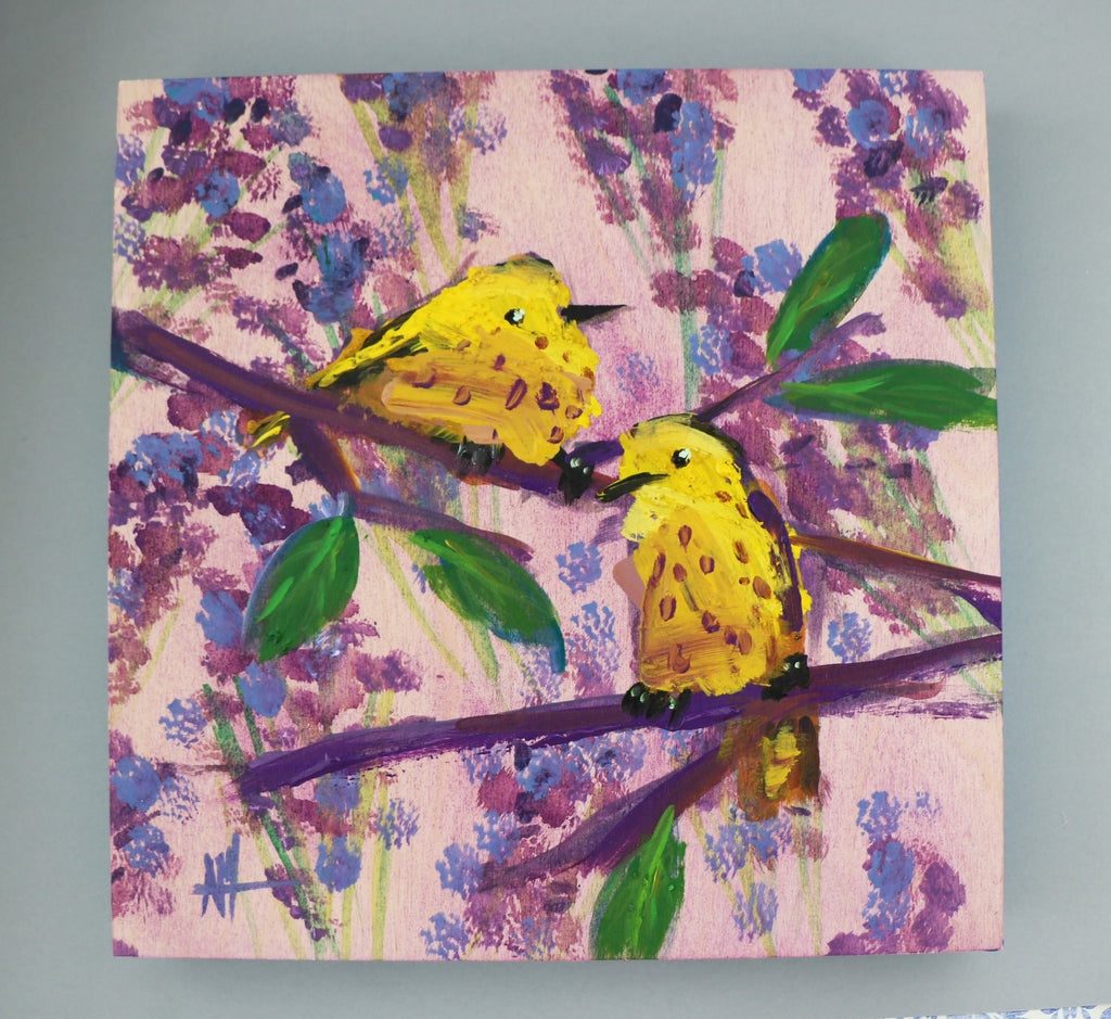 Two Yellow Warblers with Lavender