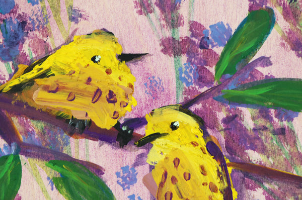 Two Yellow Warblers with Lavender painting Angela Moulton - Christenberry Collection