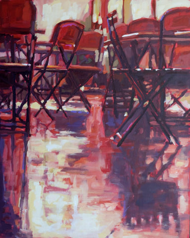 Bistro Nocturn painting Kelly Berger - Christenberry Collection