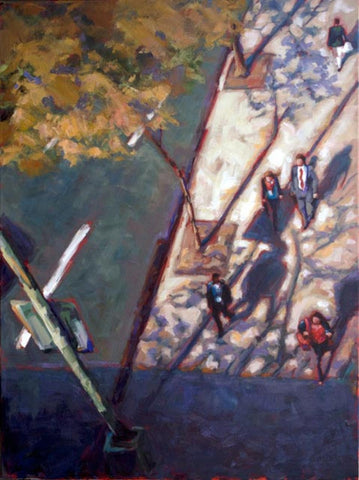 Commuters Below painting Kelly Berger - Christenberry Collection