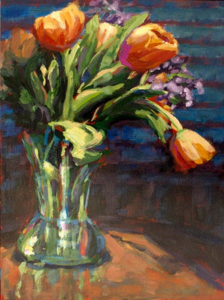 Lit Up Tulips painting Kelly Berger - Christenberry Collection