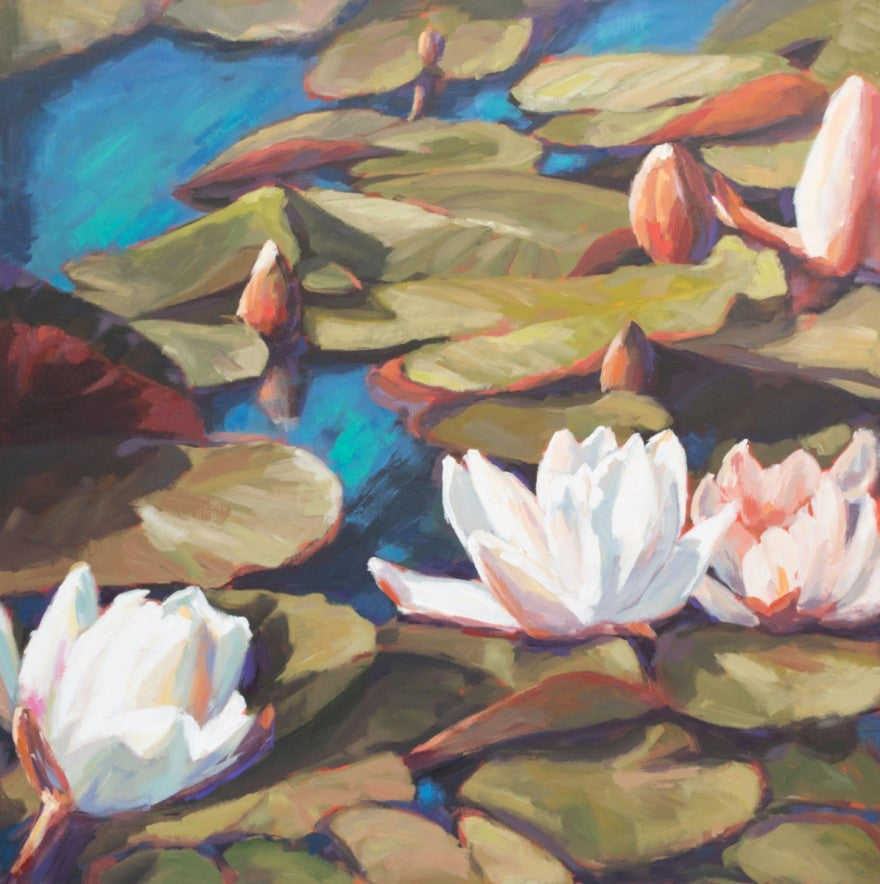 Aqua Flora painting Kelly Berger - Christenberry Collection