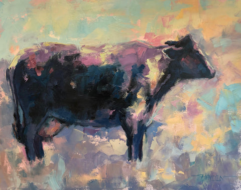 Blue Moo painting Barbara Hayden - Christenberry Collection
