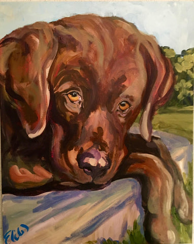 Chocolate Lab painting Elizabeth Warner - Christenberry Collection