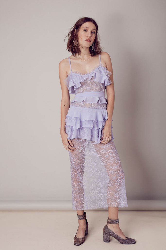 COSMIC MIDI LACE DRESS