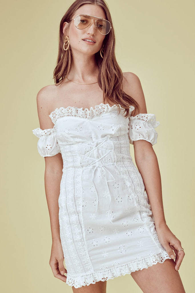 Anabelle Eyelet Lace Up Dress White