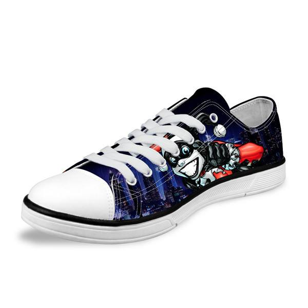 Low Cut Shoes - Joker & Harley Quinn Low Canvas Mens Shoes Collection