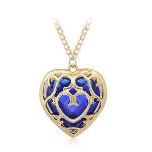 Necklace - The Legend Of Zelda Blue Red Hollow Heart Pendant