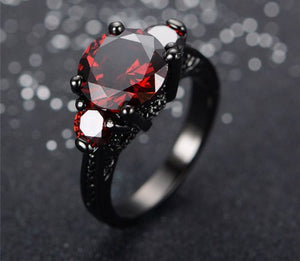 Ring - Harley Quinn One Ring Black Gold Filled Red Sapphire