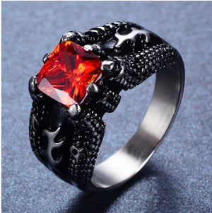 Ring - Wicked Ruby Red & Black Titanium Steel Ring