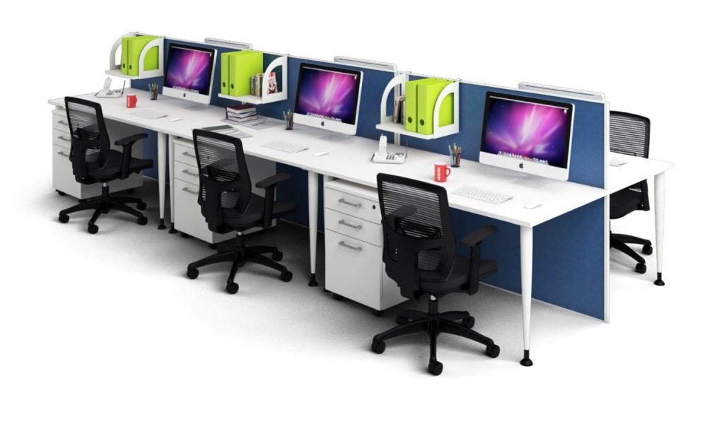 Jasonl 6 Person Workstation with blue screens is the perfect way to incorporate colour into the office work environment.