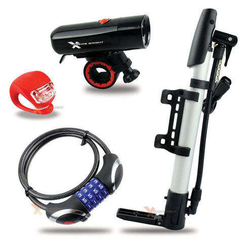 Ultimate Bike Kit - Bike Headlight, Rear Taillight, Pump and LED Combination Lock