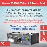 Xtreme Bright® X-3500 LED Flashlight & Power Bank All-in-One