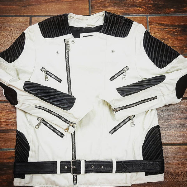 White Denim Motorcycle Jacket  w/ Black Genuine Lambskin Leather - Reps And Scales