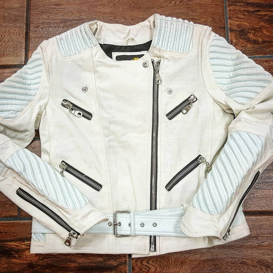 Light Blue Collarless Denim Motorcycle Jacket  w/ White Genuine Lambskin Leather - Reps And Scales